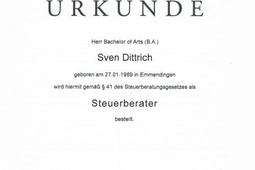 Bestellung zum Steuerberater - Sven Dittrich