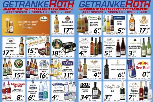 Aktuelles Flugblatt von Getränke Roth - Appenweier, Oppenau, Kehl und Linx